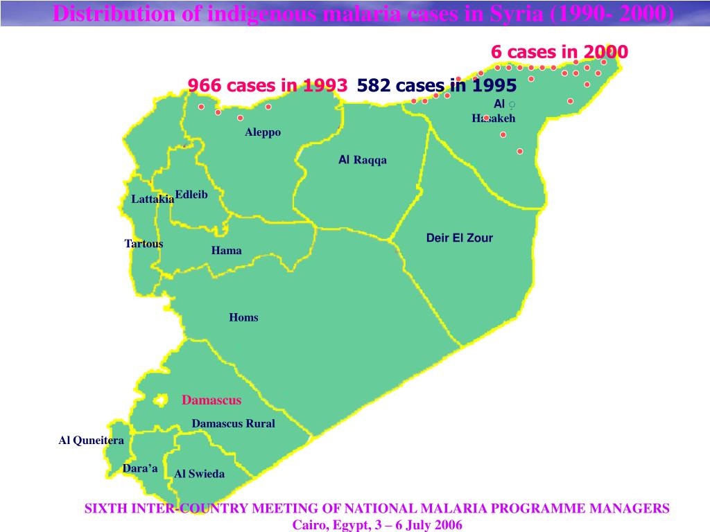 Distribution of indigenous malaria cases in Syria (1990- 2000)