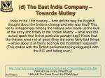 d the east india company towards mutiny