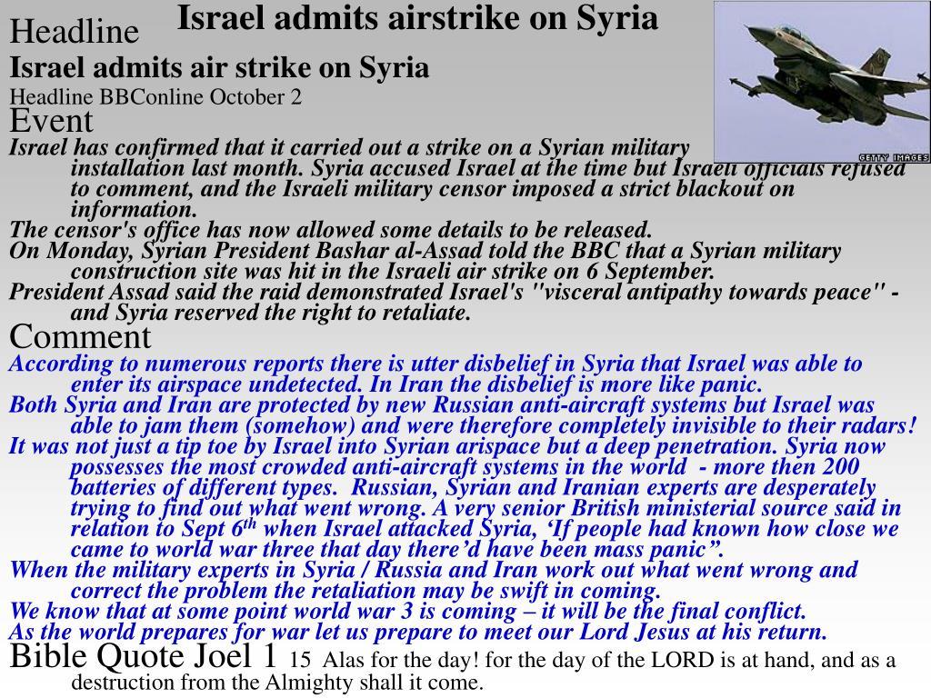 Israel admits airstrike on Syria