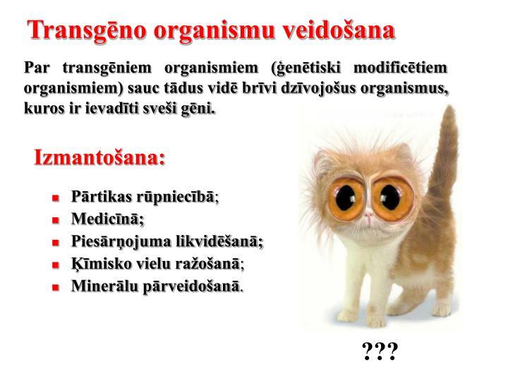 Transgēno organismu veidošana