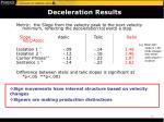 deceleration results