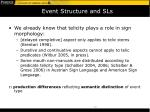 event structure and sls
