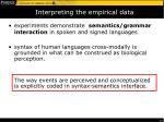 interpreting the empirical data
