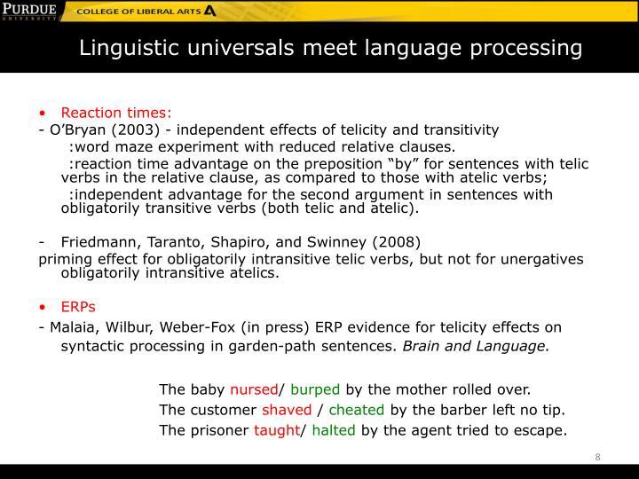 Linguistic universals meet language processing