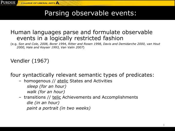 Parsing observable events:
