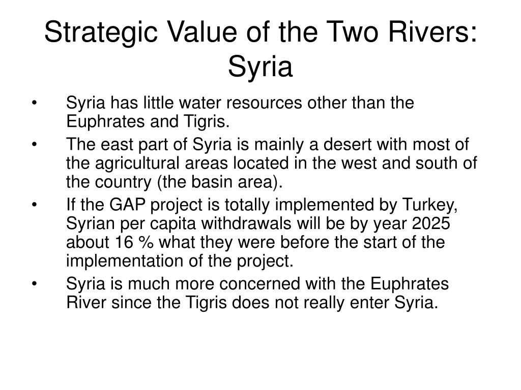 Strategic Value of the Two Rivers: Syria