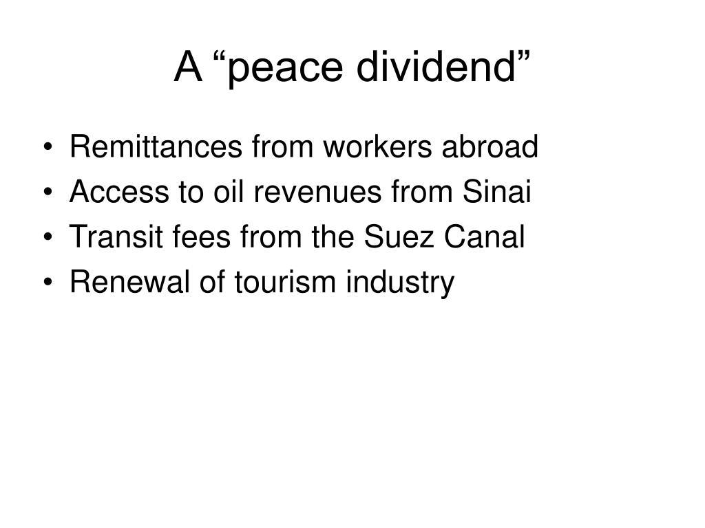 "A ""peace dividend"""