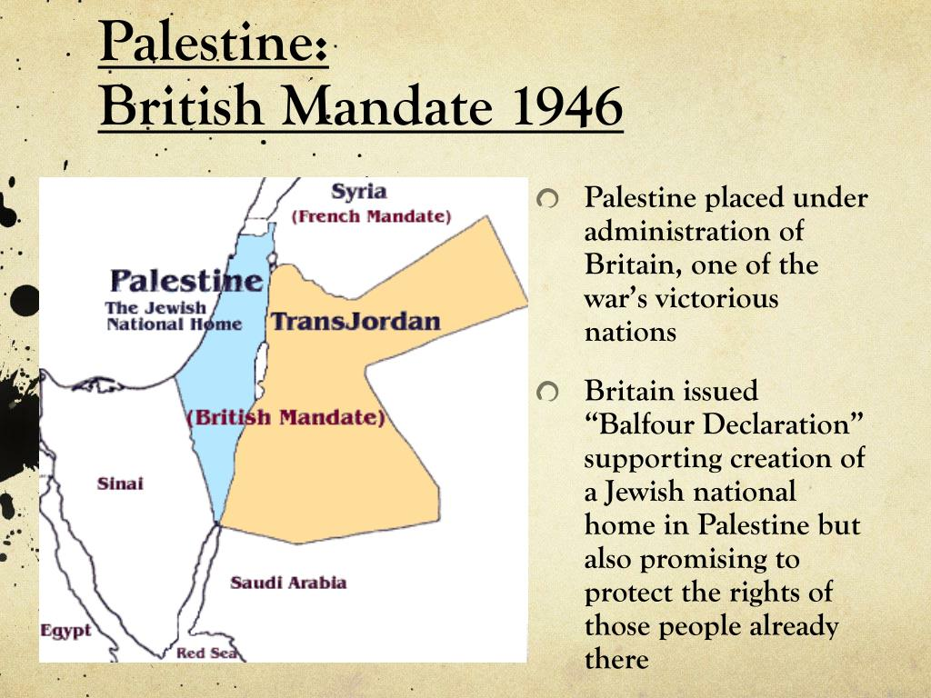 Palestine placed under administration of Britain, one of the war's victorious nations