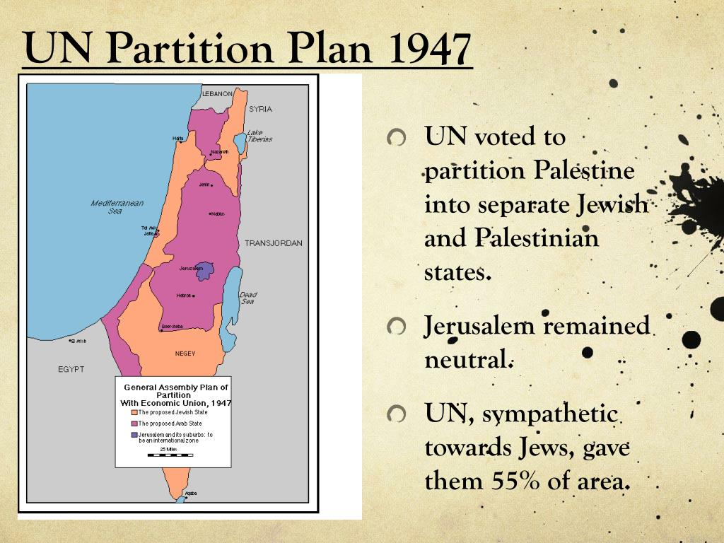 UN voted to partition Palestine into separate Jewish and Palestinian states.
