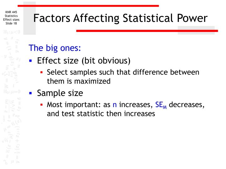 statistical power and sample size relationship between sun