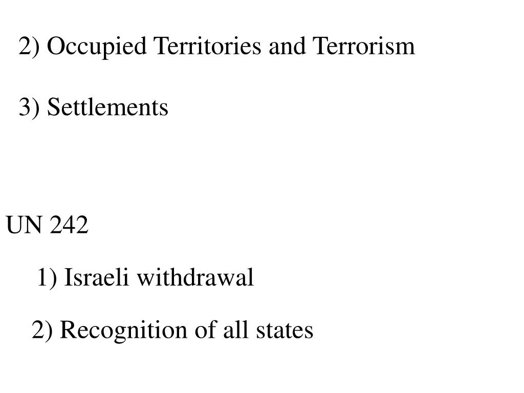 2) Occupied Territories and Terrorism