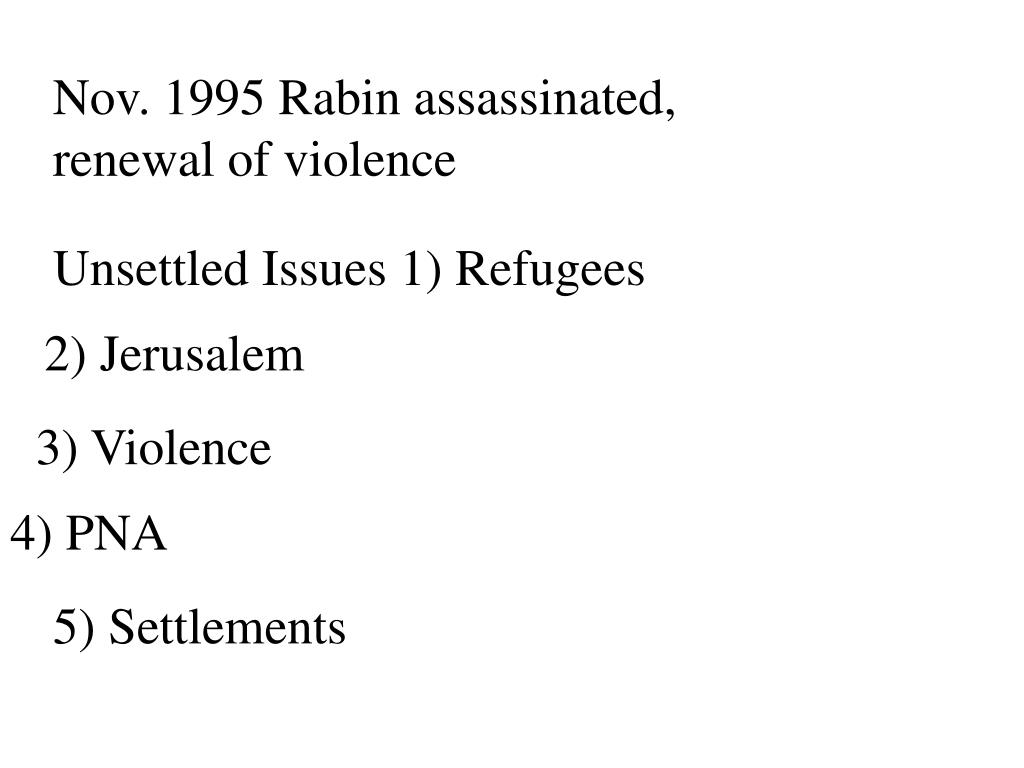 Nov. 1995 Rabin assassinated, renewal of violence