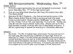 ms announcements wednesday nov 7 th