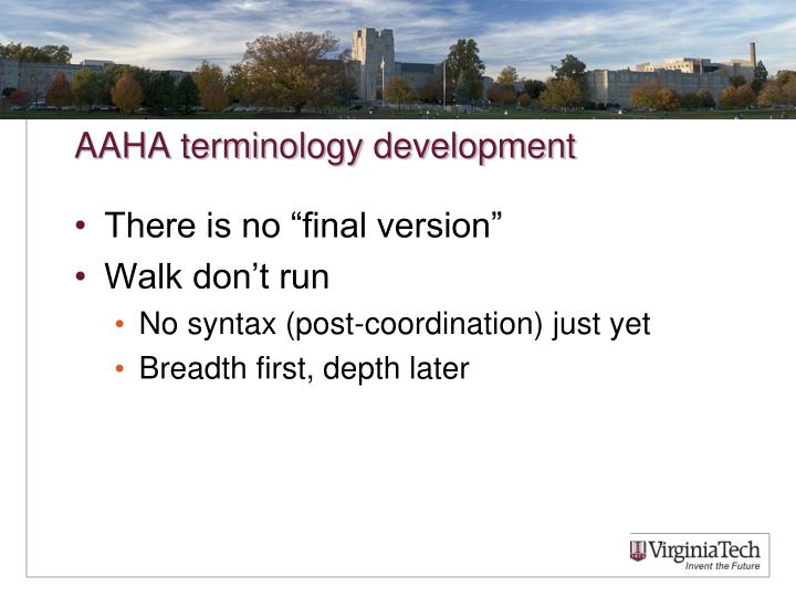 AAHA terminology development