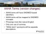 aaha terms version changes