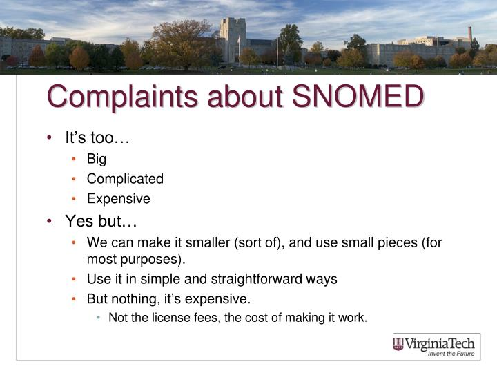Complaints about SNOMED