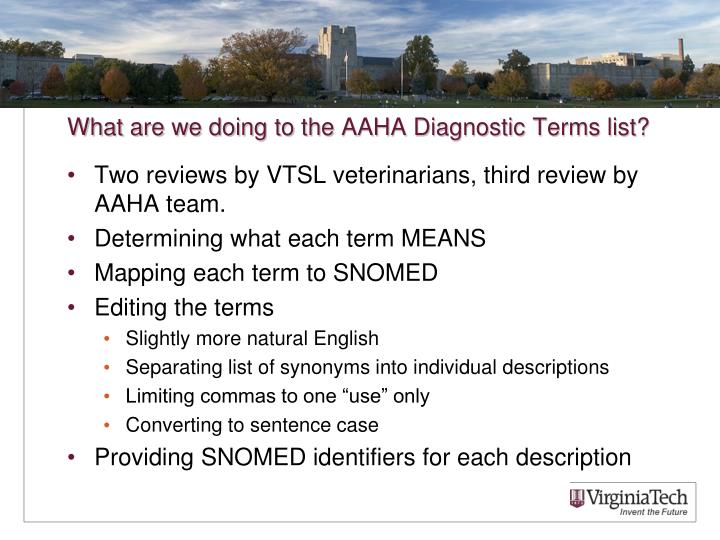 What are we doing to the AAHA Diagnostic Terms list?