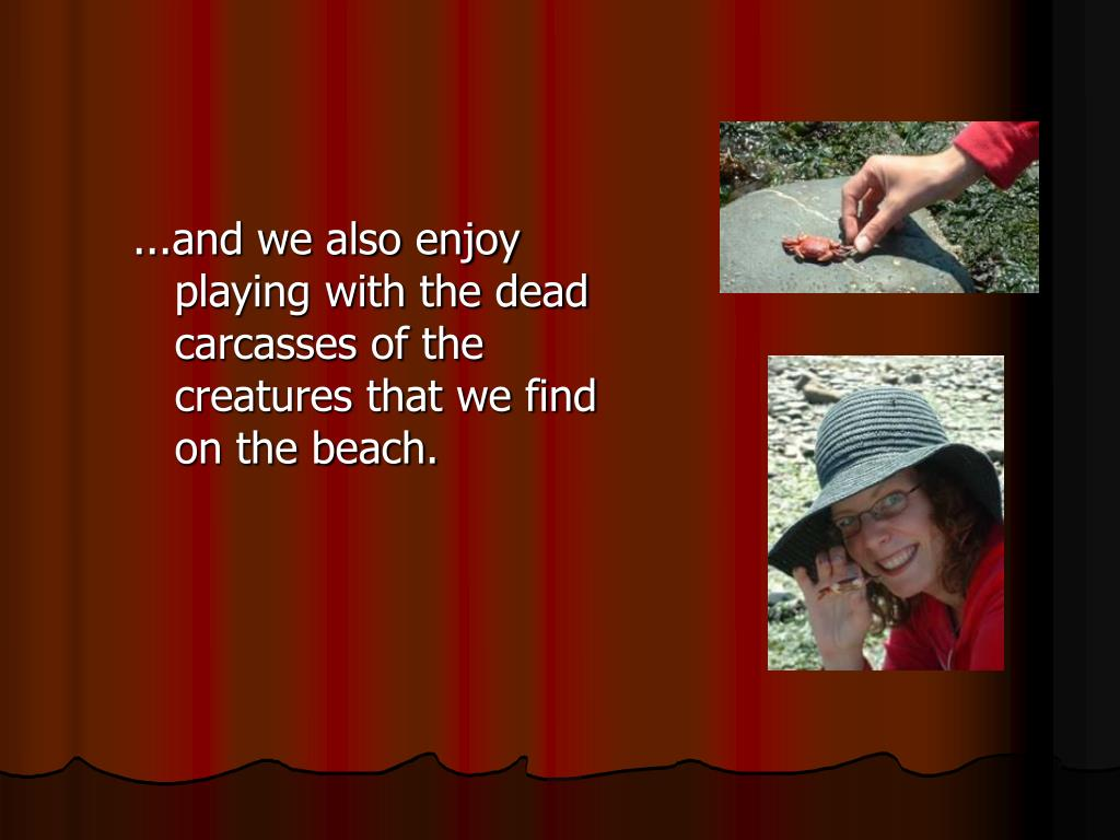 ...and we also enjoy playing with the dead carcasses of the creatures that we find on the beach.