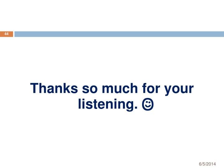 Thanks so much for your listening.