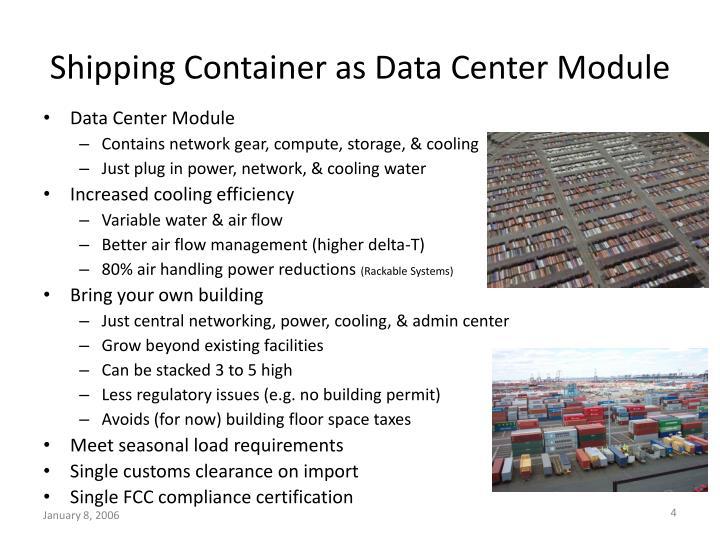 Shipping Container as Data Center Module