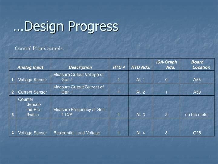 …Design Progress
