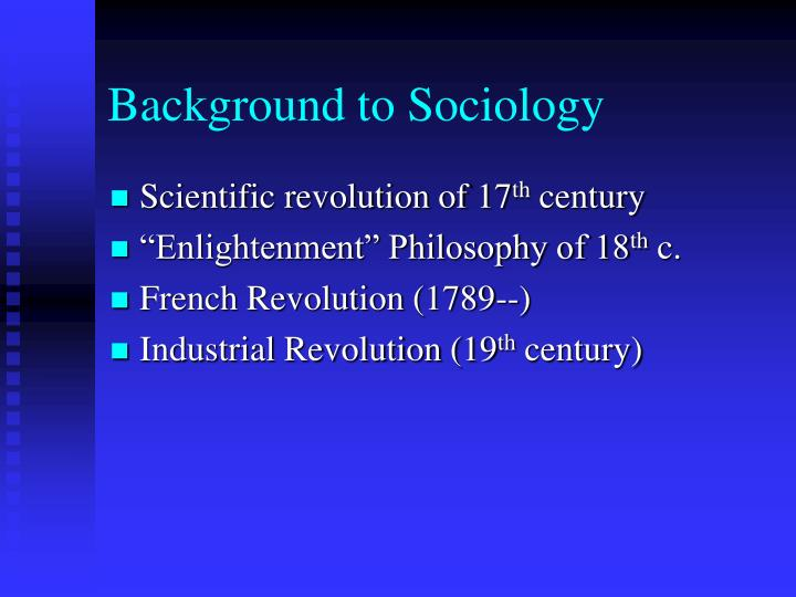 Background to sociology
