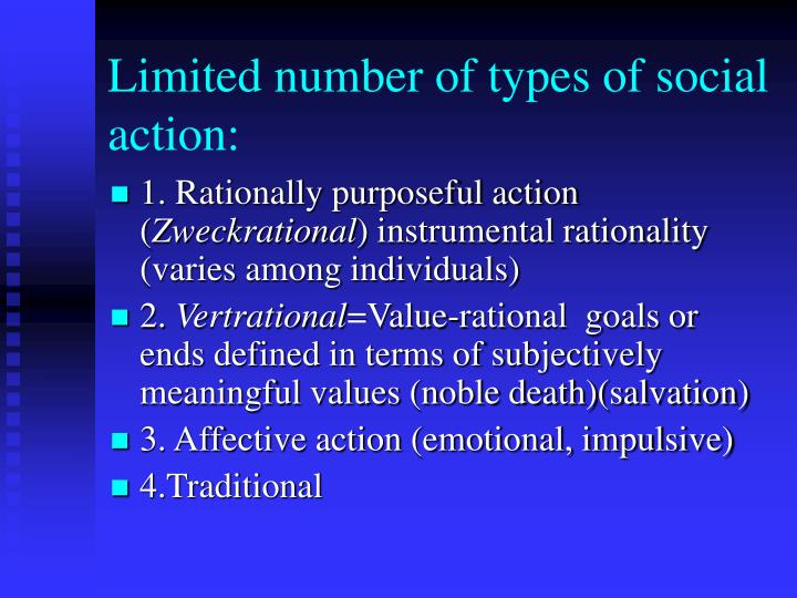 Limited number of types of social action: