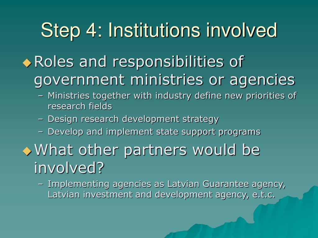 Step 4: Institutions involved