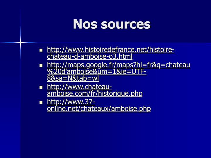 Nos sources