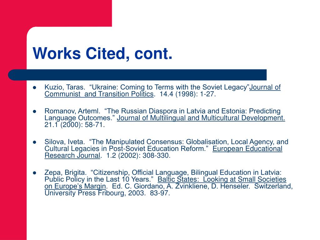 Works Cited, cont.