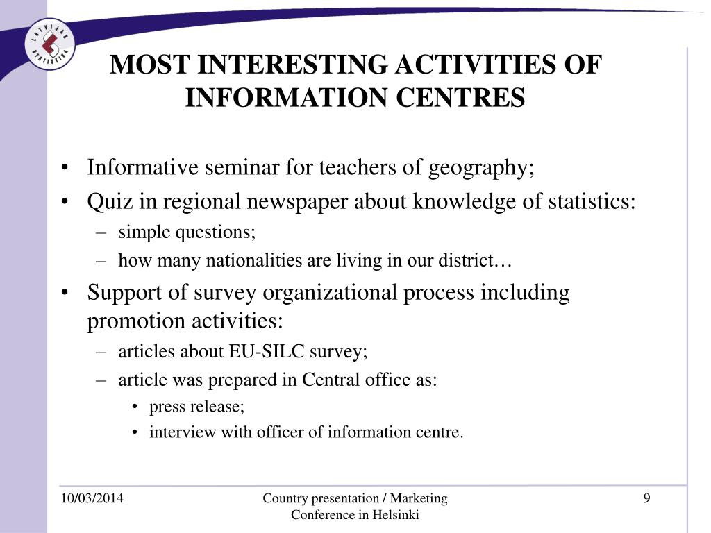 MOST INTERESTING ACTIVITIES OF INFORMATION CENTRES