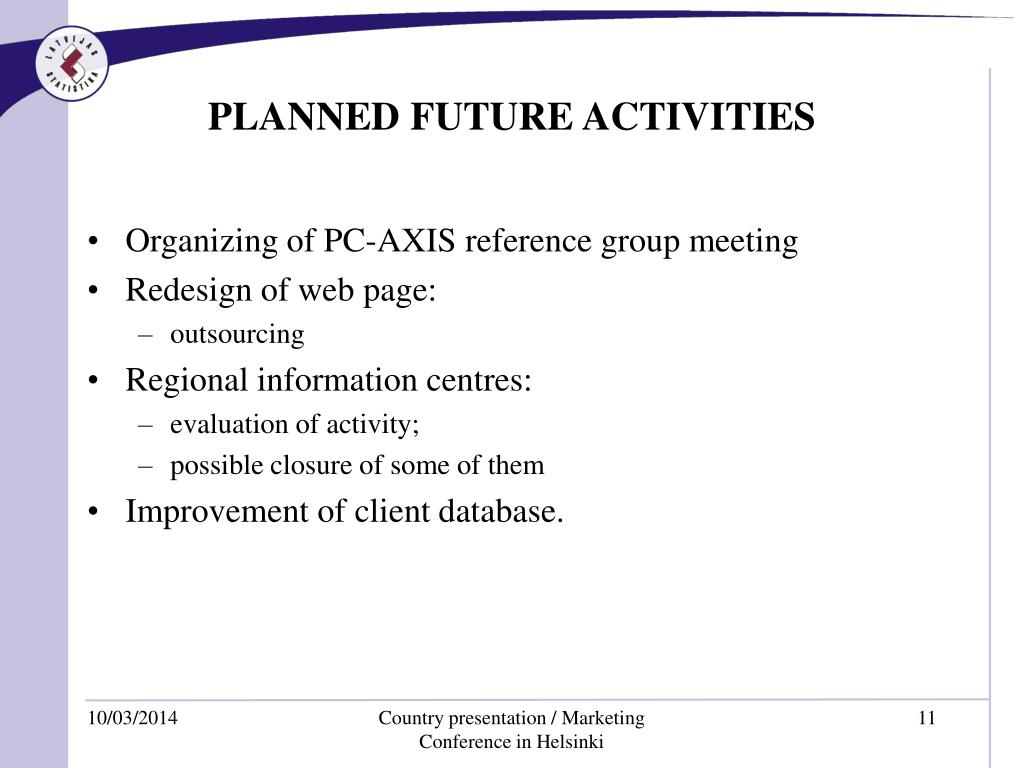 PLANNED FUTURE ACTIVITIES