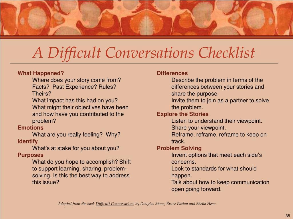 A Difficult Conversations Checklist