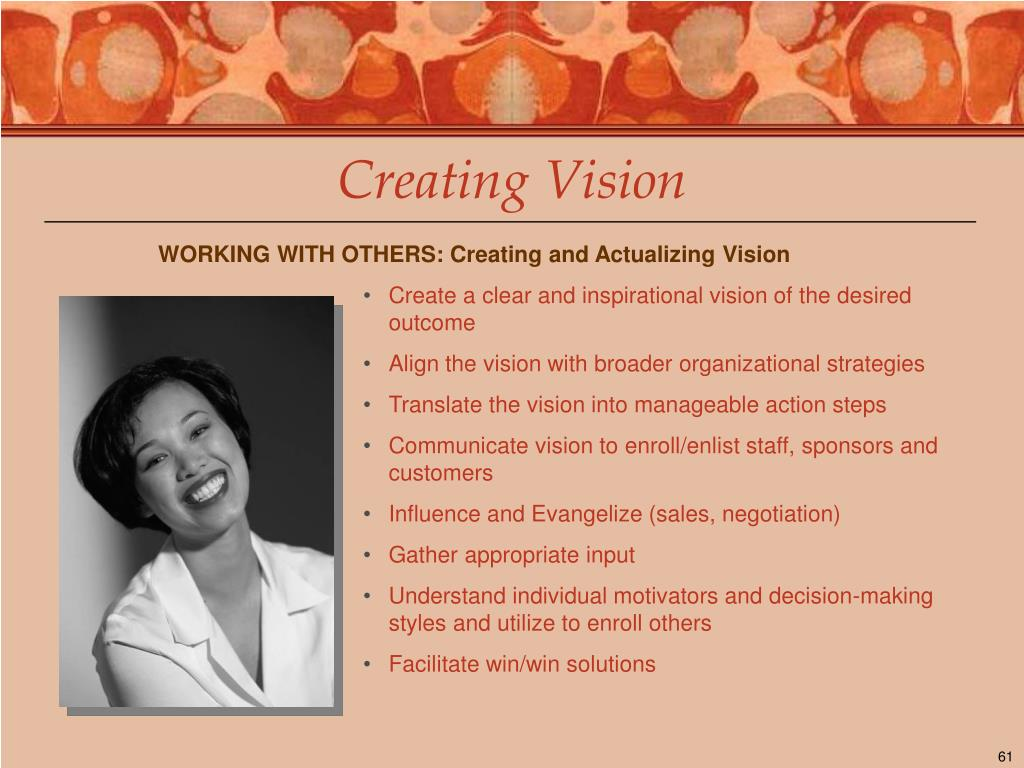 WORKING WITH OTHERS: Creating and Actualizing Vision