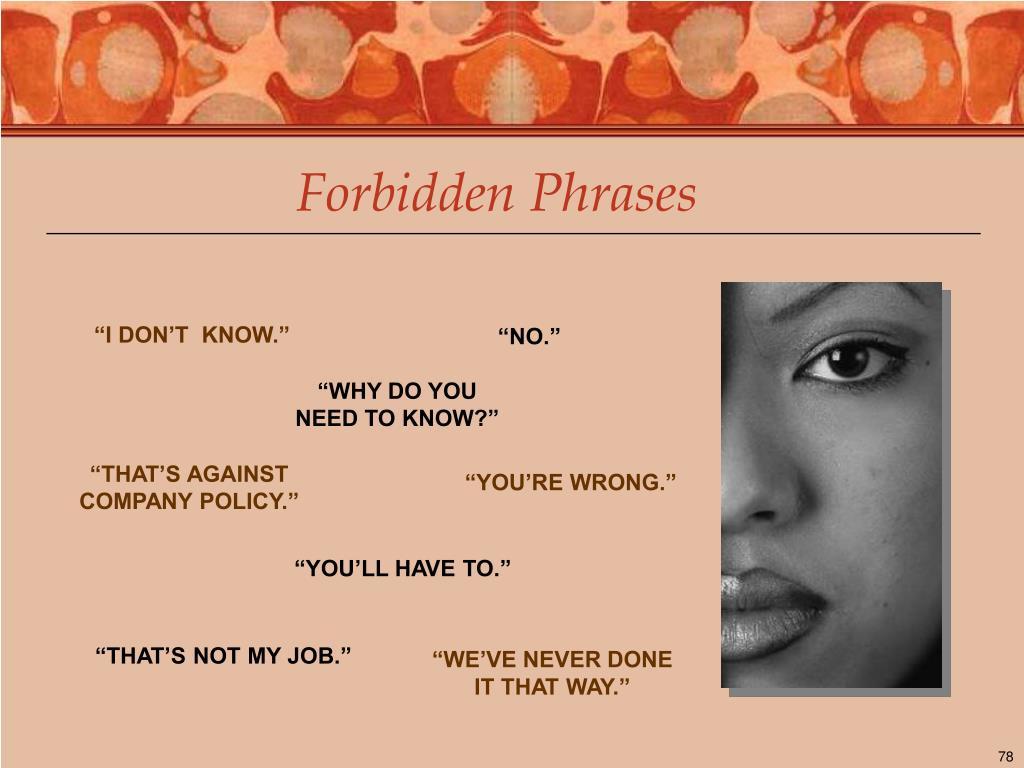 Forbidden Phrases