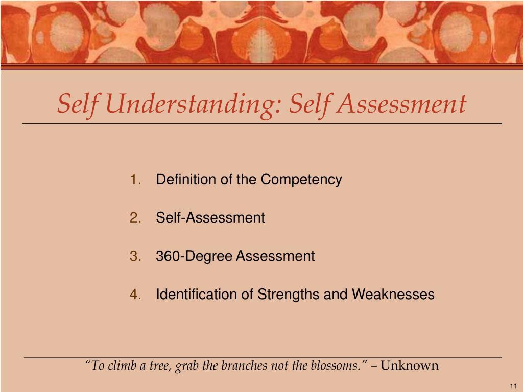 Self Understanding: Self Assessment