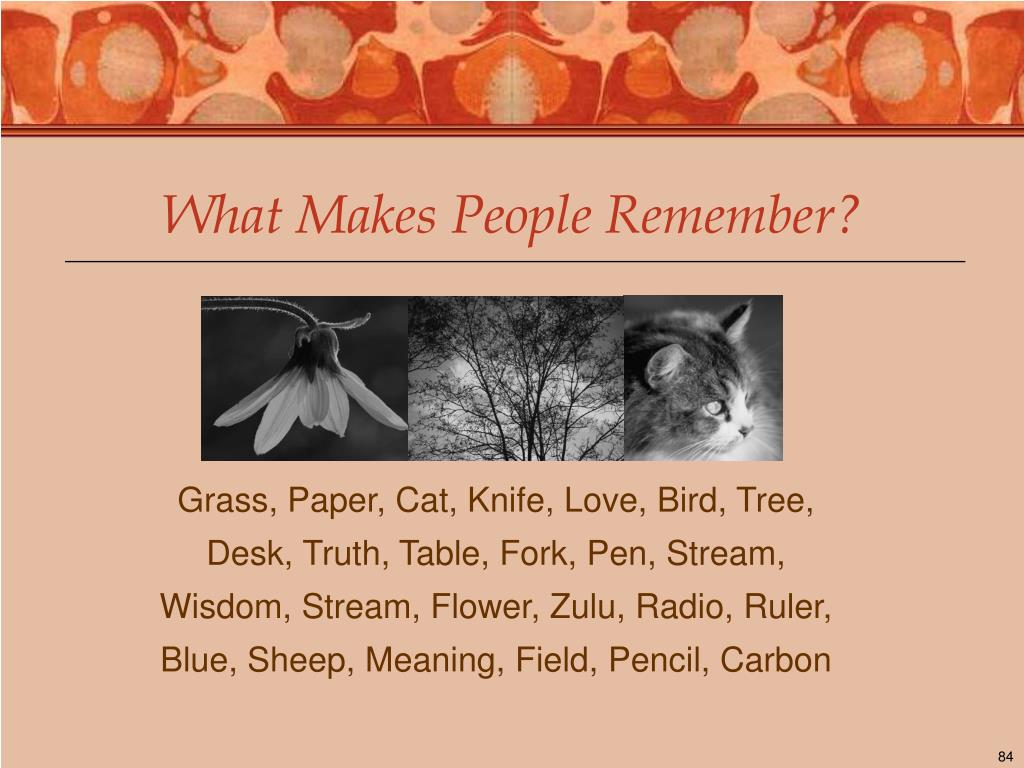 What Makes People Remember?