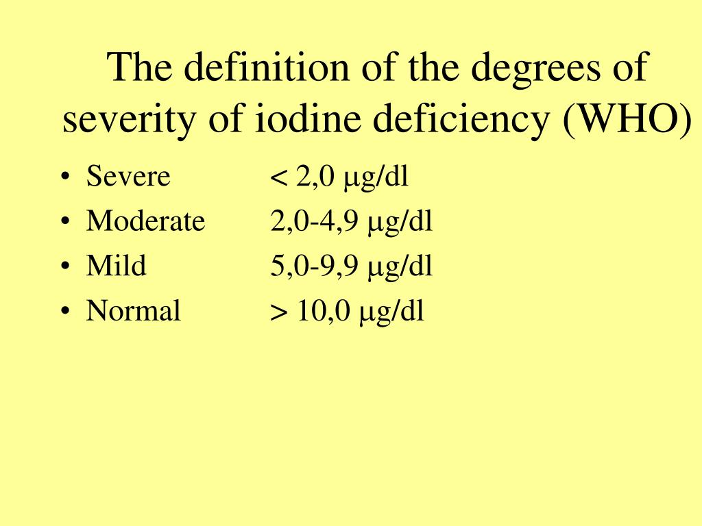 The definition of the degrees of severity of iodine deficiency (WHO)