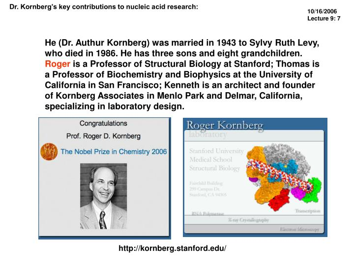 Dr. Kornberg's key contributions to nucleic acid research:
