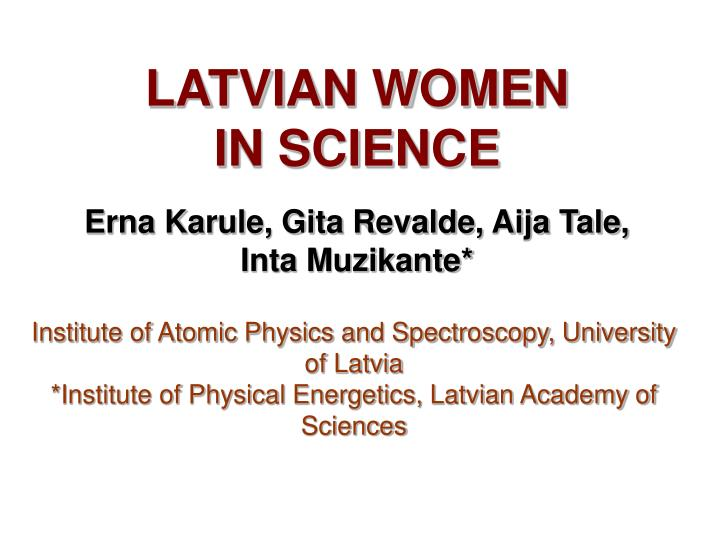 Latvian women in science