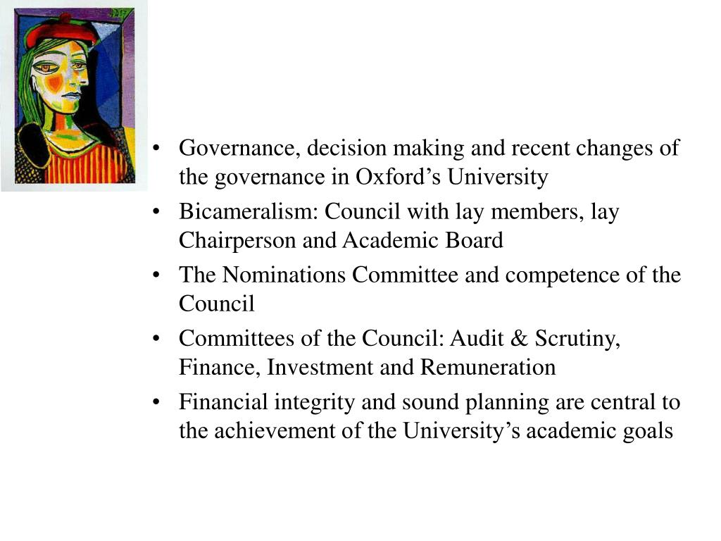 Governance, decision making and recent changes of the governance in Oxford's University