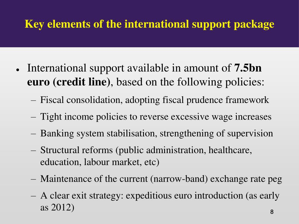 Key elements of the international support package