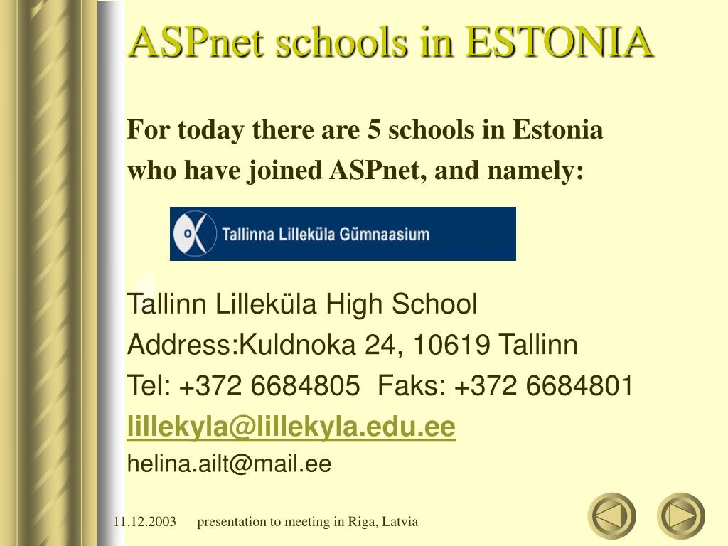 ASPnet schools in ESTONIA