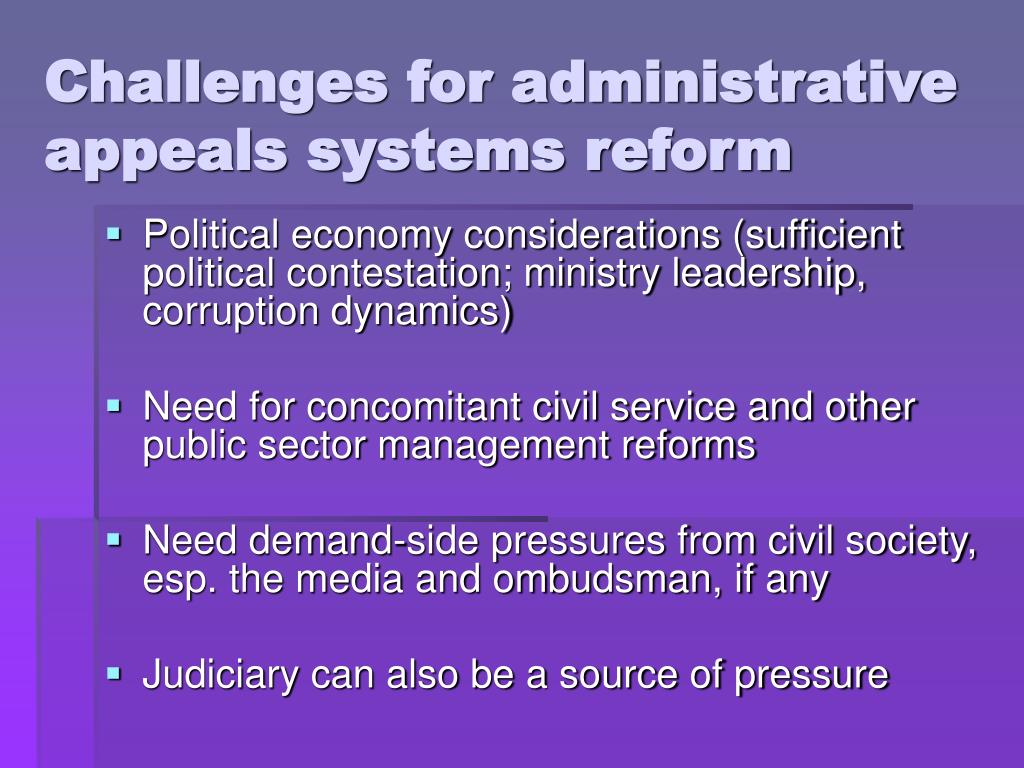 Challenges for administrative appeals systems reform
