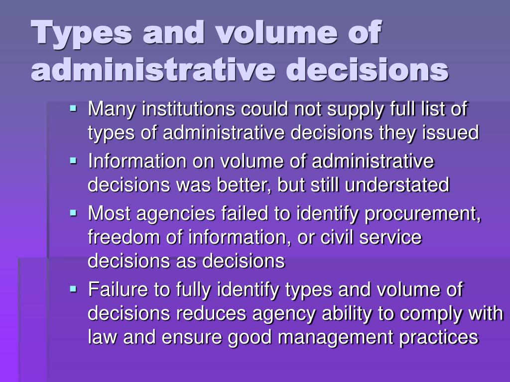 Types and volume of administrative decisions