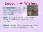 lesson a wishes
