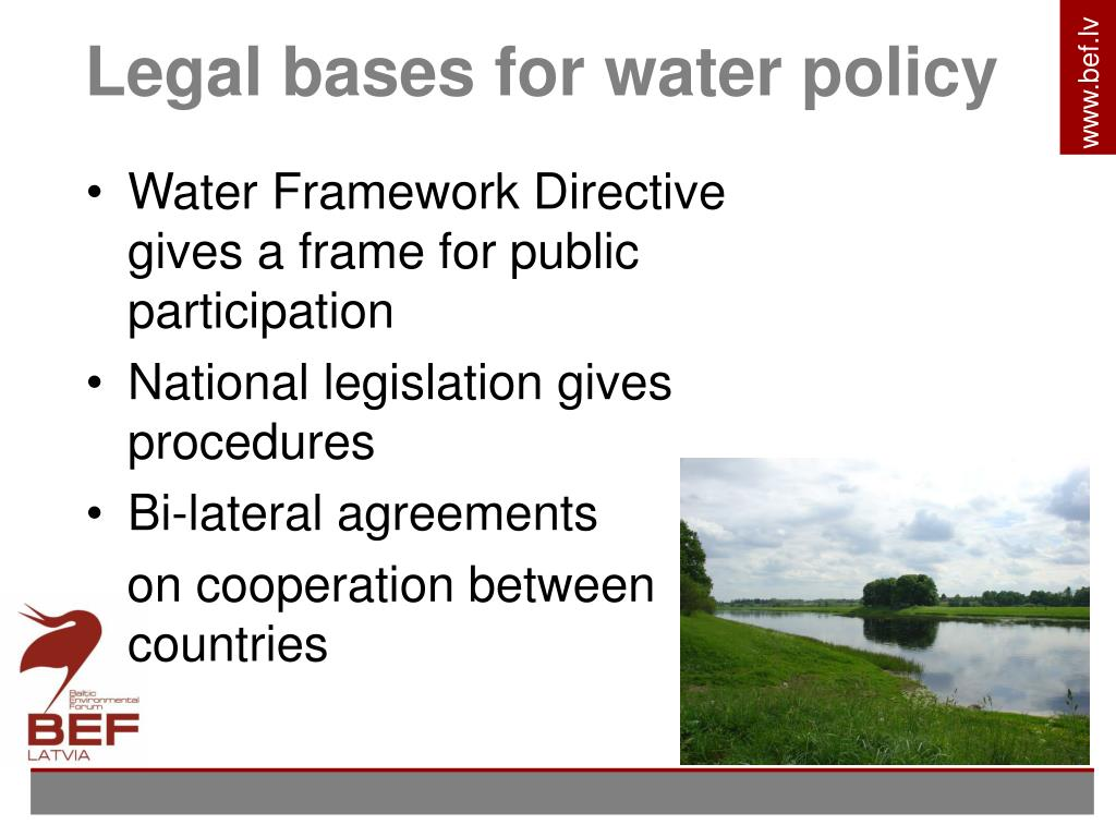Legal bases for water policy