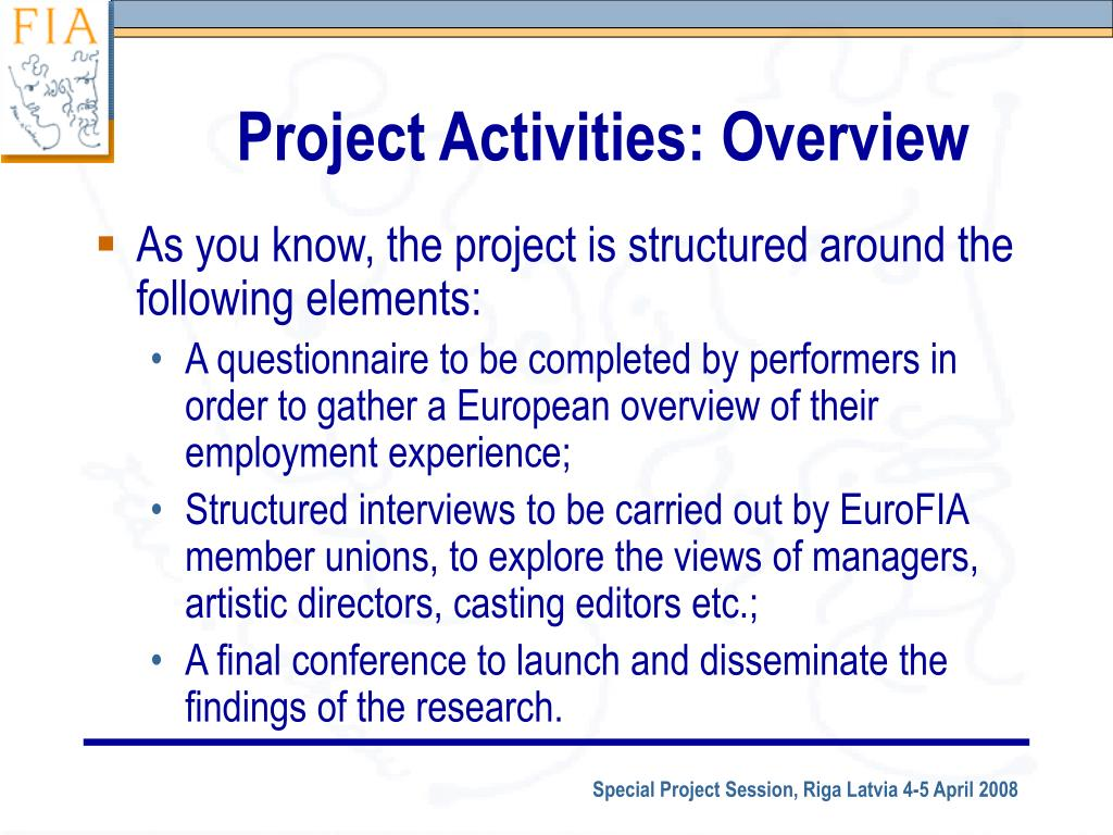 Project Activities: Overview