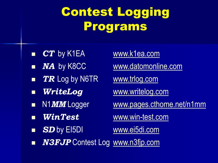 Contest Logging Programs