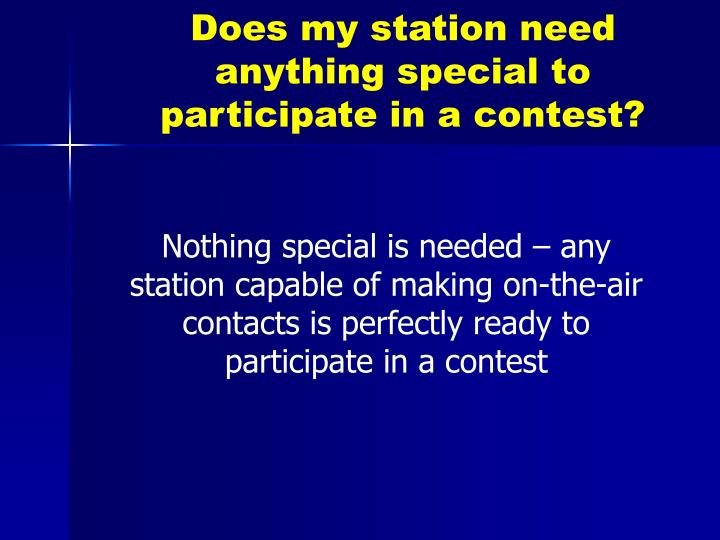 Does my station need anything special to participate in a contest?